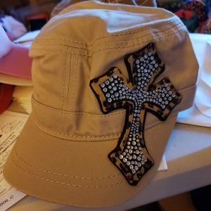Tan Embellished Cross Cap Hat